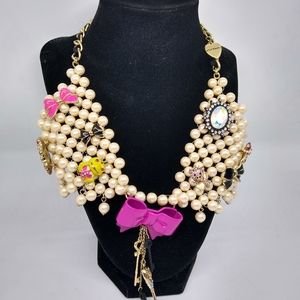 Betsey Johnson Faux Pearl Bowtie Necklace